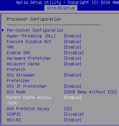 Server BIOS configuration - Converged HX Series