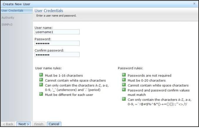 User accounts - Integrated Management Module II