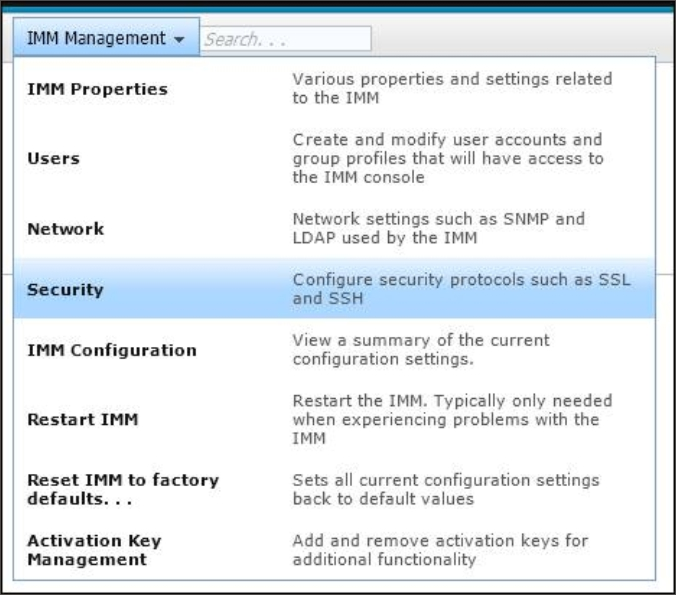 Configuring security settings - Integrated Management Module II