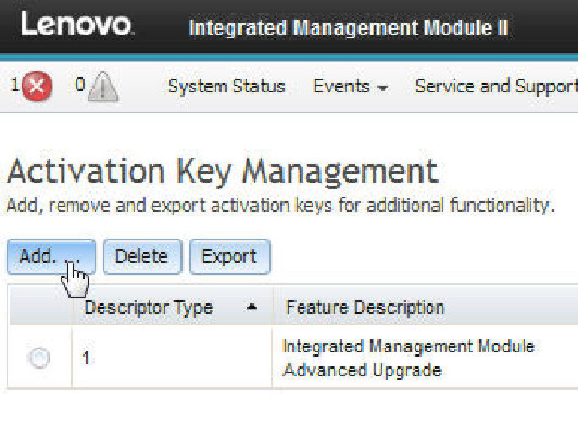 Installing an activation key - Integrated Management Module II