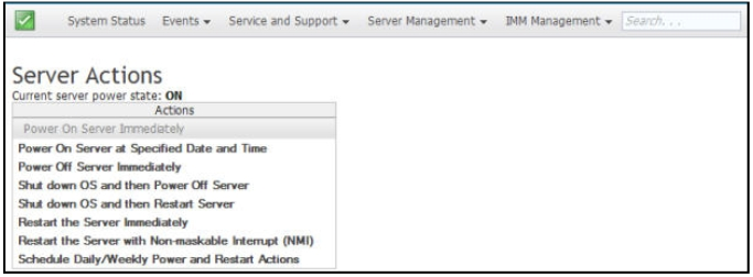 Controlling the power status of the server - Integrated Management