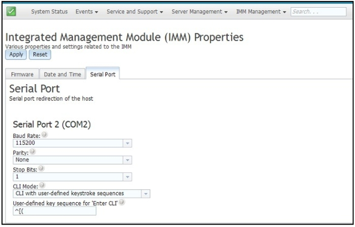 Configuring the serial port settings - Integrated Management Module II