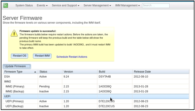 Updating the server firmware - Integrated Management Module II